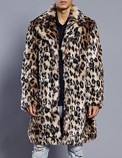 Fuskepels Lang Langermet,Skjortekrage Pelskåpe Leopard Høst Vinter Enkel Fritid/hverdag Plusstørrelser Herre