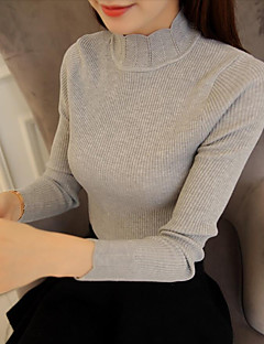 Women's Going out Casual/Daily Vintage Regular Pullover,Solid Crew Neck Long Sleeves Cotton Acrylic Spandex Spring Fall Medium Stretchy