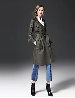 Damen Solide Street Schick Ausgehen Lässig/Alltäglich Trench Coat,Gekerbtes Revers Herbst Winter Lange Ärmel Lang Baumwolle Andere