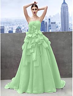 billige Høst 2013-A-linje Kjære Kapellslep Organza Skoleball / Formell kveld Kjole med Sidedrapering av TS Couture®
