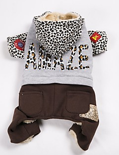 billiga Hundkläder-Hund Kappor Tröja Jumpsuits Hundkläder Färgblock Leopard Tyg Polyster Kostym För husdjur Ledigt/vardag Håller värmen Sport