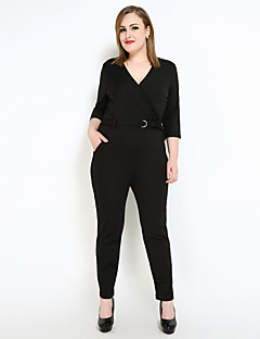 Cute Ann Women's Work Party Going out Casual/Daily Club Holiday Simple Vintage Sexy Solid V Neck Jumpsuits,Straight Slim Half Sleeves All Seasons