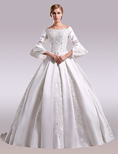 A Line Off The Shoulder Chapel Train Lace Satin Wedding Dress With Beading Appliques By Nameilisha