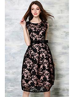 baratos Vestidos de Festa-Mulheres Para Noite Vintage Evasê Vestido - Renda, Bordado Altura dos Joelhos / Primavera / Outono