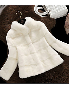 Women's Going out Simple Casual Winter Fall Fur Coat,Solid Stand Long Sleeve Short Polyester Fur Trim