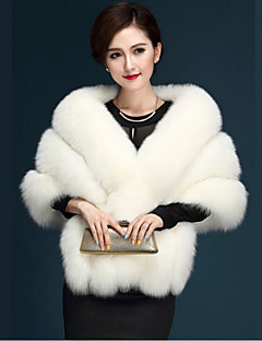 Women's Daily Simple Casual Winter Fall Fur Coat,Solid V Neck Short Fox Fur