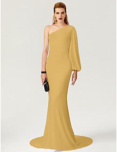 billiga Kändisklänningar-Åtsmitande Enaxlad Svepsläp Jersey Formell kväll Klänning med / av TS Couture®