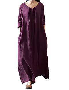 cheap Maxi Dresses-Women's Plus Size Loose Dress - Solid Colored Low Rise Maxi U Neck