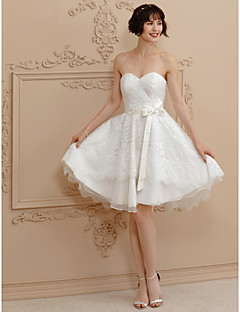 Princess Sweetheart Short Mini Lace Satin Wedding Dress With Bows Sashes Ribbons By LAN TING BRIDER