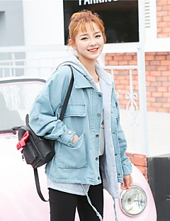 Women's Daily Simple Casual Winter Fall Denim Jacket,Solid Hooded Long Sleeve Short Others