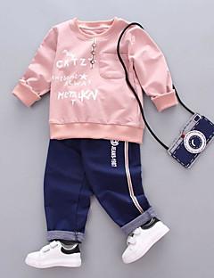 billige Tøjsæt til piger-Pige Ensfarvet Anden Tøjsæt, Bomuld Spandex Forår Efterår Lyserød Lysegrøn Marineblå