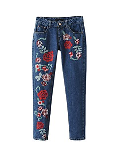 Dámské Mikro elastické Džíny Kalhoty chinos Kalhoty Štíhlý High Rise Výšivka