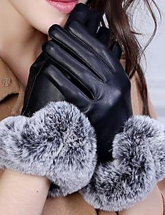 Women's Rabbit Fur PU Wrist Length Fingertips,Pure Accessories Winter Gloves Windproof Keep Warm Waterproof Solid Winter