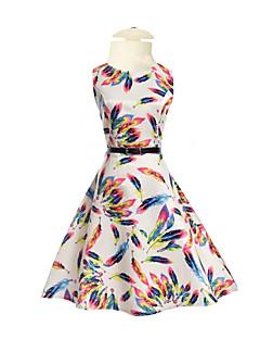 billige Pigekjoler-Pigens Kjole Daglig I-byen-tøj Ferie Ensfarvet Blomstret Regnbue, Bomuld Polyester Forår Sommer Halvlange ærmer Blomster Hvid