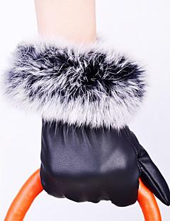 Women's Rabbit Fur PU Rabbit PU Leather Wrist Length Fingertips,Pure Accessories Casual Winter Gloves Windproof Keep Warm Waterproof