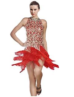 tanie Stroje do tańca latino-Taniec latynoamerykański Damskie Wydajność Poliester Frędzel Bez rękawów Naturalny Ubierać