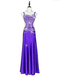 cheap Jazz Dance Wear-Latin Dance Dresses Women's Performance Spandex Crystals/Rhinestones Sleeveless Dress