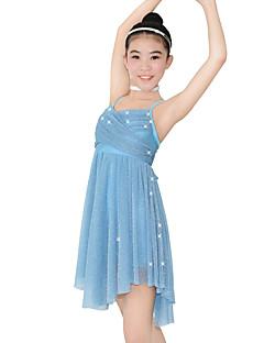 Balet Šaty Dámské Dětské Taneční vystoupení Elastický Lycra Plisované Bez rukávů Přírodní Šaty Vlasové ozdoby