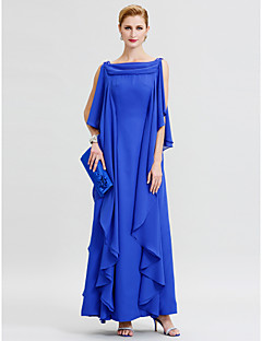 Sheath / Column Cowl Neck Floor Length Chiffon Mother of the Bride Dress with Sequins Ruffles by LAN TING BRIDE®