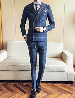 Erkek Polyester Uzun Kol Çentik Yaka Sonbahar Kış Desen Basit Günlük/Sade Büyük Beden Normal-Erkek Takım Elbise