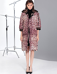 cheap Women's Downs & Parkas-MARY YAN&YU Women's Daily Going out Cute Sexy Leopard Long Down, Half Sleeves
