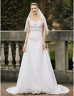 cheap Wedding Dresses-A-Line Sweetheart Court Train Lace Organza Custom Wedding Dresses with Crystal Detailing by LAN TING BRIDE®