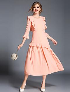 Χαμηλού Κόστους The Pink Collection-Γυναικεία Εξόδου Βίντατζ / Εκλεπτυσμένο Flare μανίκι Γραμμή Α Φόρεμα - Μονόχρωμο, Με Βολάν Μίντι / Φθινόπωρο / Χειμώνας