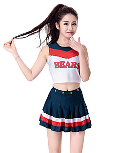 cheap Cheerleader Costumes-Cheerleader Costumes Outfits Women's Performance Polyester Sleeveless Dropped Skirts Top