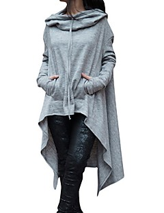 Women's Plus Size Casual/Daily Simple Hoodie Solid Hooded Micro-elastic Cotton Rayon Long Sleeve Fall Winter