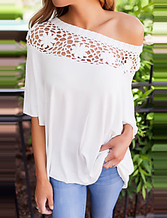 Women's Shopping Daily Going out Spring Summer T-shirt,Solid Patchwork Sexy Off Shoulder Half Sleeves Polyester Medium