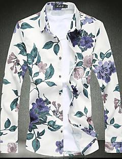 お買い得  メンズシャツ-男性用 週末 シャツ, アジアン・エスニック スリム フラワー 幾何学模様 コットン