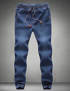 billige Herrebukser og -shorts-Herre Bomull Skinny Tynn Jeans Bukser Ensfarget