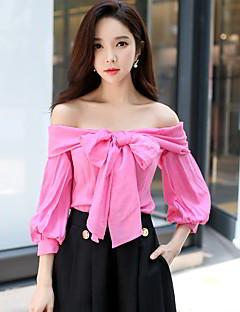 Naiset 3/4 hiha Keskipaksu Olkaimeton Polyesteri Nylon Spandex Kevät Syksy Seksikäs Vintage Yksinkertainen Bile Rento/arki T-paita,