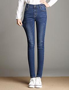 billige Kvinde Underdele-Dame Gade Plusstørrelser Skinny Jeans Bukser Ensfarvet