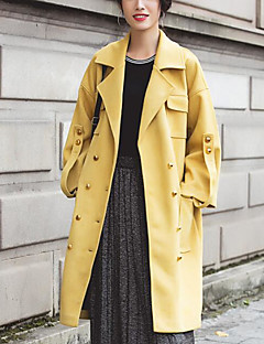 Women's Casual/Daily Simple Fall Trench Coat,Solid Notch Lapel Long Sleeve Long Polyester
