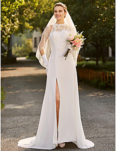 cheap Plus Size Wedding Dresses-Sheath / Column High Neck Sweep / Brush Train Satin Beaded Lace Custom Wedding Dresses with Appliques by LAN TING BRIDE®
