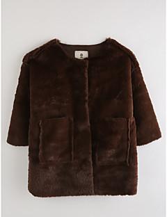 hesapli İndirimli Satışlar-Genç Kız Pamuklu Solid Kış 3/4 Kol Ceket ve Kaban Kahverengi