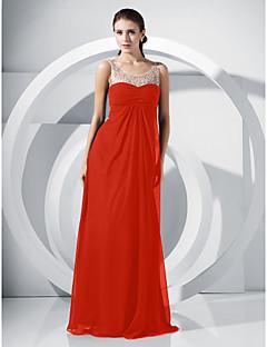 billiga Aftonklänningar-A-linje / Prinsessa Scoop Neck Golvlång Chiffong Formell kväll Klänning med Bård / Draperad / Spets av TS Couture®