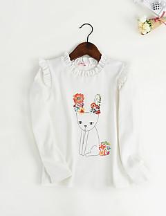 Jente T-skjorte Dyretrykk Blomstret Bomull Vår Høst