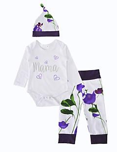 billige Sett med babyklær-Baby Pige Tøjsæt Fødselsdag Indendørs udendørs Afslappet/Hverdag Blomst, Bomuld Vinter Forår/Vinter Langærmet Blomster Hvid