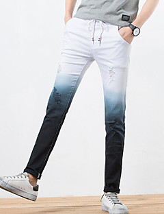 Men's Mid Rise Micro-elastic Chinos Pants,Simple Slim Color Block