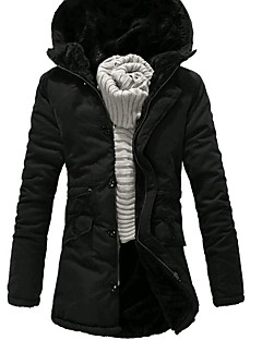 Men's Padded Coat,Casual Daily Solid-Polyester Polypropylene Long Sleeves