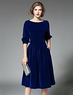 Χαμηλού Κόστους Long Sleeve Dresses-Γυναικεία Κλαμπ Μανίκι Πεταλούδα Δαντέλα Φόρεμα - Μονόχρωμο, Δαντέλα Ως το Γόνατο Μπλε
