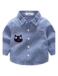 preiswerte Tops für Babys-Baby Jungen Hemd Streifen Polyester Herbst Langarm Streifen Hemden Blau Schwarz