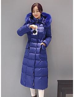 Damen Daunen Mantel Einfach Ausgehen Lässig/Alltäglich Solide-Polyester Polypropylen Langarm