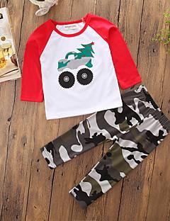 billige Tøjsæt til drenge-Drenge Tøjsæt camouflage, Bomuld Polyester Forår Efterår Langærmet Tegneserie Pænt tøj Hvid