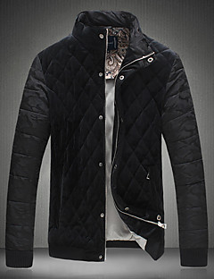 Men's Regular Padded Coat,Casual Daily Going out Solid-Polyester Others Polypropylene Long Sleeves Stand