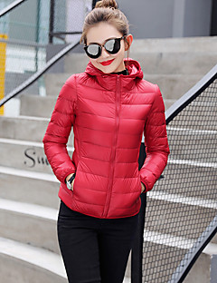 Women's Short Down Coat,Casual Daily Going out Solid-Polyester White Goose Down Long Sleeves