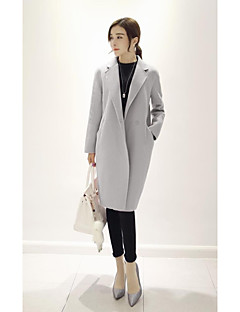 Damen Solide Einfach Ausgehen Mantel,Ständer Herbst Winter Lange Ärmel Lang Kaschmir