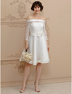 cheap Plus Size Wedding Dresses-A-Line Off Shoulder Short / Mini Satin Sheer Lace Custom Wedding Dresses with Sashes/ Ribbons Flower by LAN TING BRIDE®